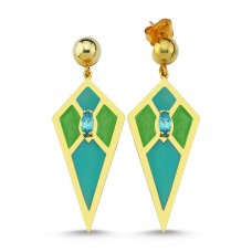 Audrey Earrings (Mint Green&Turquoise)